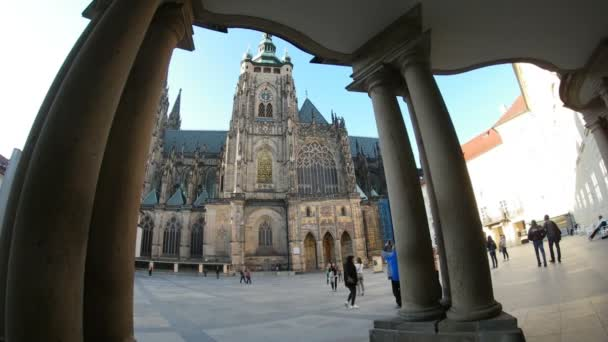 Prague, Czech Republic - March 24, 2017:St.Vitus Cathedral shot though some ancient columns  in an arty way in spring