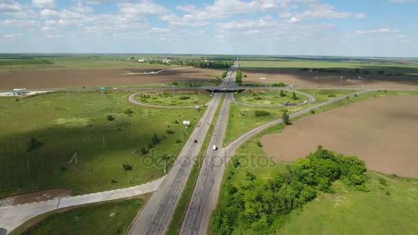Légi felvétel egy ország autópálya-Kherson régióban, egy napsütéses nyári nap