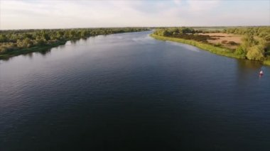 Aerial shot of the Dnipro river and its blue waters in a sunny day in summer