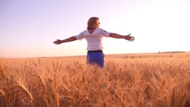Veselá mladá žena otočí s rukama stranou na pšenici podané v slo-mo