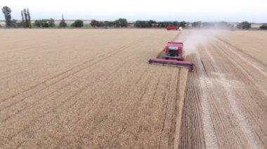 Nikolaev, Ukraine - June 29, 2017:Aerial 360 degrees shot of a modern combine harvester reaping wheat in summer