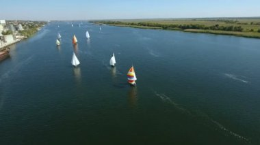 Aerial shot of a regatta with a lot of yachts sailing in the Dnipro in summer