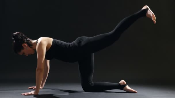 Young woman stands on fours an her mat and raises one straight leg back                                   An educative view of a slender woman with a pony-tail in a black sportive suit who stands on her fours and raises her left leg back in a gym.