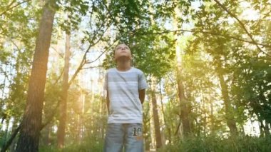 A small boy looks up and stands on a path in a green park at sunset in slow motion                                       A zoom in view of a thoughtful nine year boy standing in a glowing park in summer in slow motion. He is in a tshirt and jeans