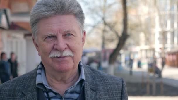 945122d33b3 Happy Senior Man Mustache Goes Street Smiles Slo Portrait Cheerful — Stock  Video
