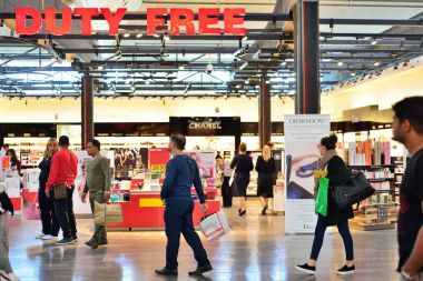 ISTANBUL, TURKEY - APRIL, 2017: Duty Free Shop in Istanbul, Turk