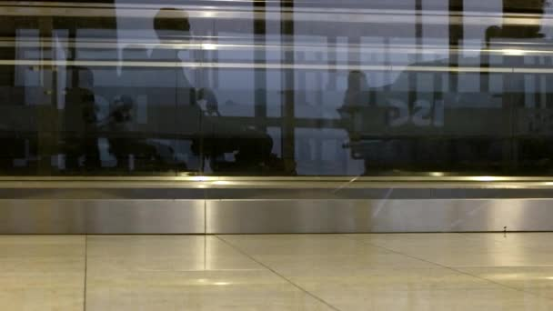 People Travelers Walking in Airport or Railway Station Waiting Hall, Time-Lapse