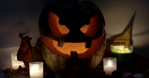 Closeup of Scary Holiday Halloween Carved Glowing Pumpkins. Jack-O-Lantern