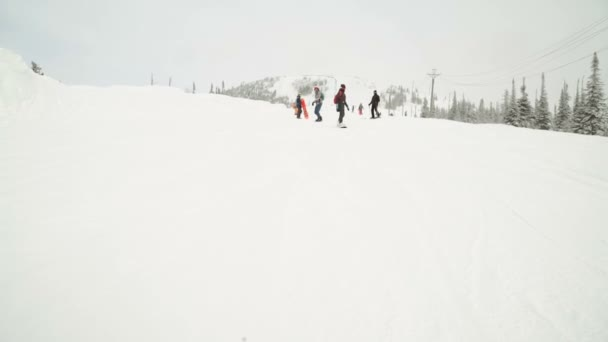 Young female snowboarder riding fresh powder snow in beautiful snowy mountain in sunny winter. perfect powder snow off piste in mountain ski resort.