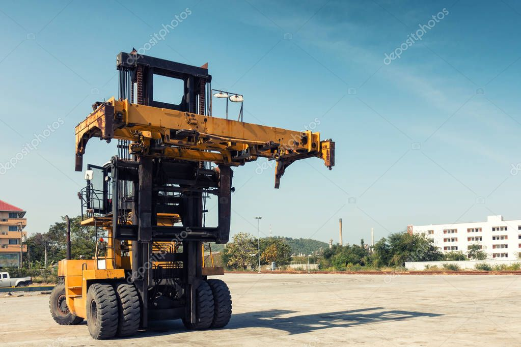 Heavy forklift truck in the ship yard., Container forklift.