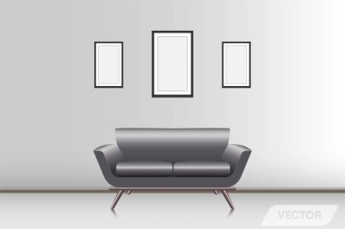 Realistic modern couch in living room, Vector, Illustration