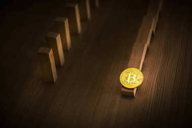 Falling dominoes effect and down trend of bitcoin, Stock exchang