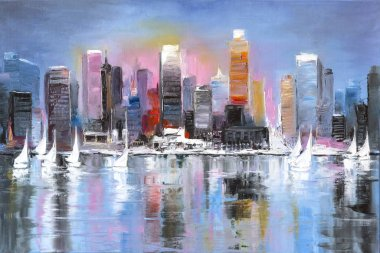 Original oil painting on canvas, a fantasy coastal city on a sunny afternoon stock vector