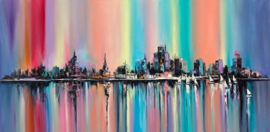 Original oil painting on canvas, a fantasy abstract city under rainbow skies stock vector