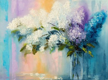 Lilacs in vase on canvas