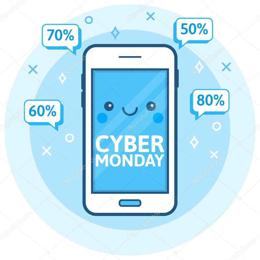 Antecedentes de venta de Cyber lunes. Icono de teléfono ...