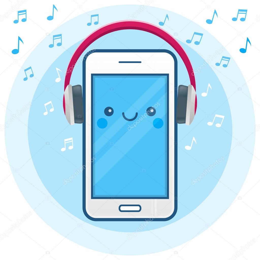 Cute happy smartphone icon with big pink headphones and musical ...