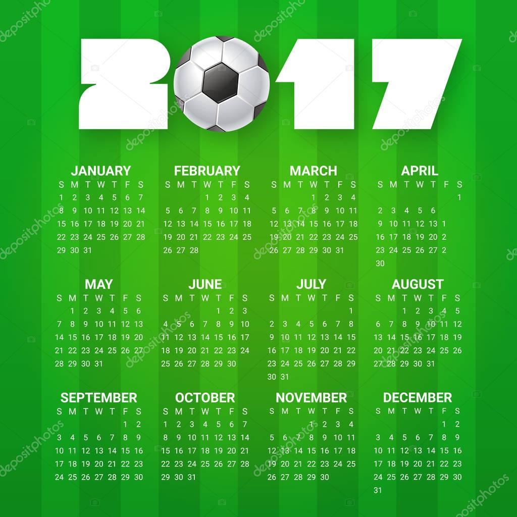 Kalender für das Jahr 2017. Sport, Fußball, Spiele Thema. Fußball ...