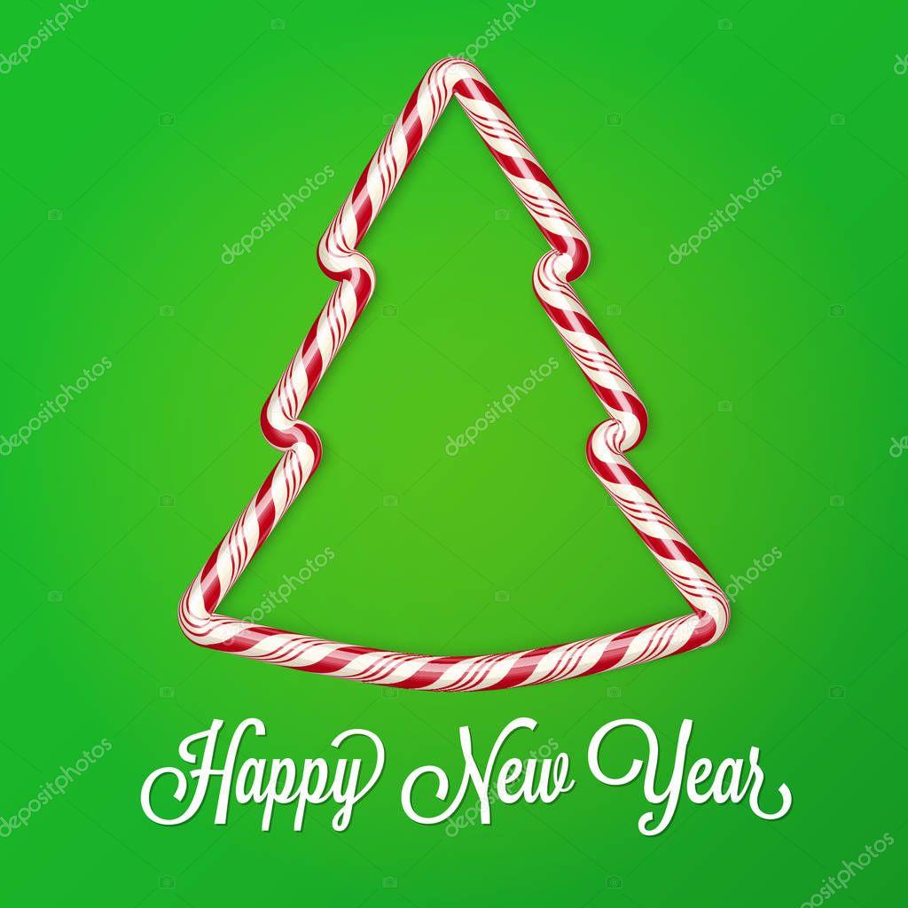 Tarjeta de año nuevo 2017. Candy cane efecto, árbol de Navidad ...