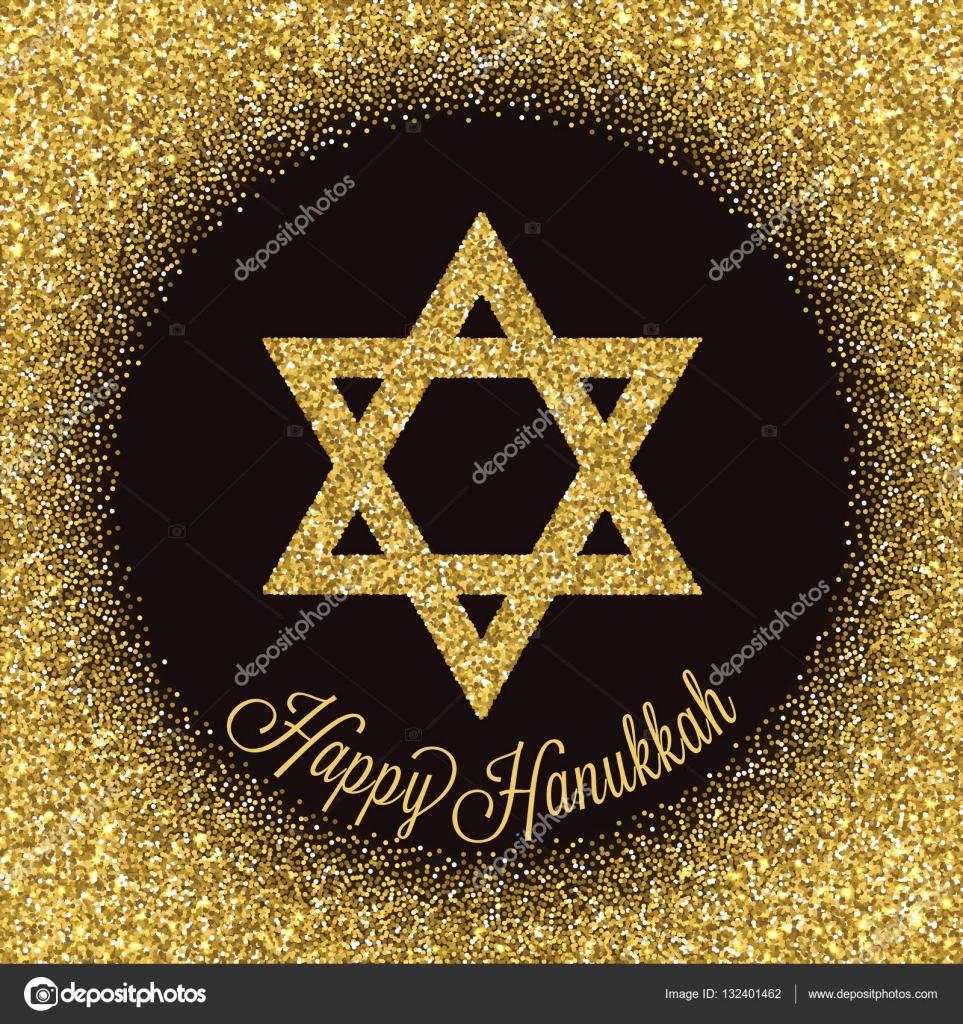 Happy hanukkah greeting card star of david with gold glitter effect happy hanukkah greeting card star of david with gold glitter effect traditional jewish symbol m4hsunfo