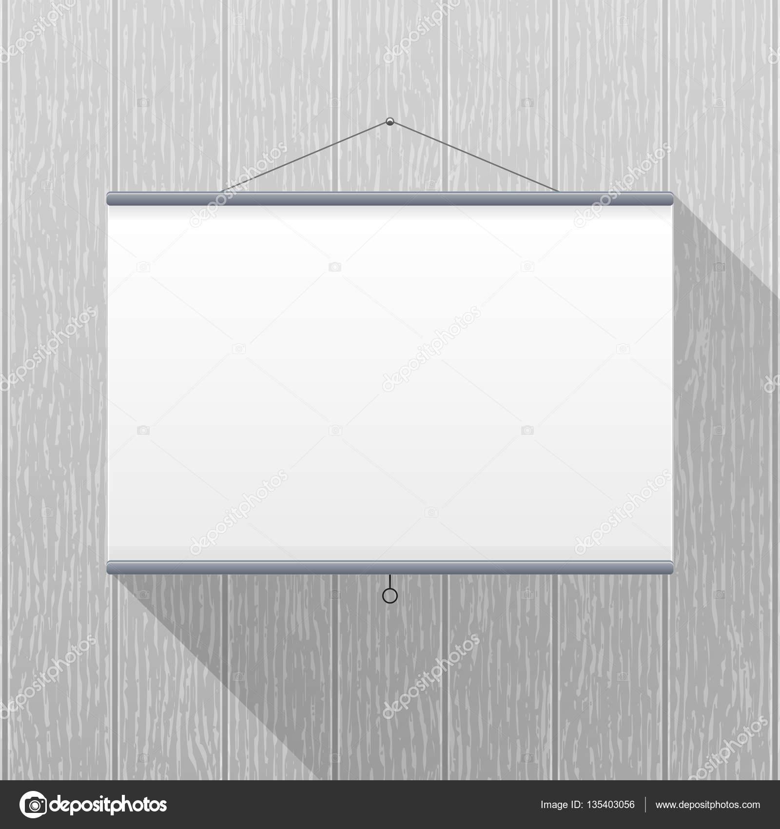 Maqueta del vector pantalla de proyector colgado en una for Pizarra oficina