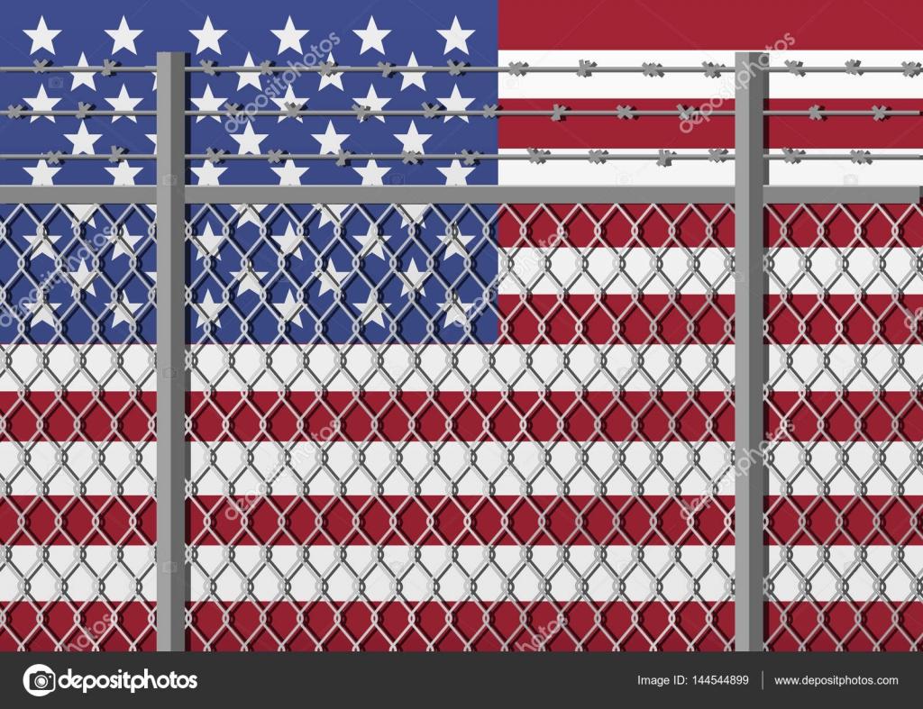 Metall-Zaun mit Stacheldraht auf einer Usa-Flagge. Trennung-Konzept ...