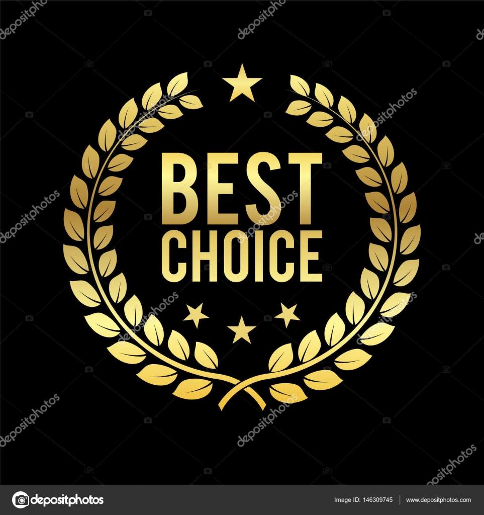 Zlatý vavřínový věnec. Best Choice Award. Zlatý štítek. Prvek návrhu na  prodej 5614413877