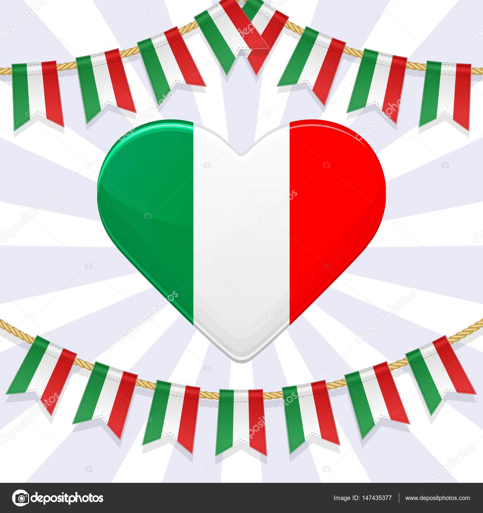 Vektor-Illustration für nationalen Tag von Italien. Girlande ...