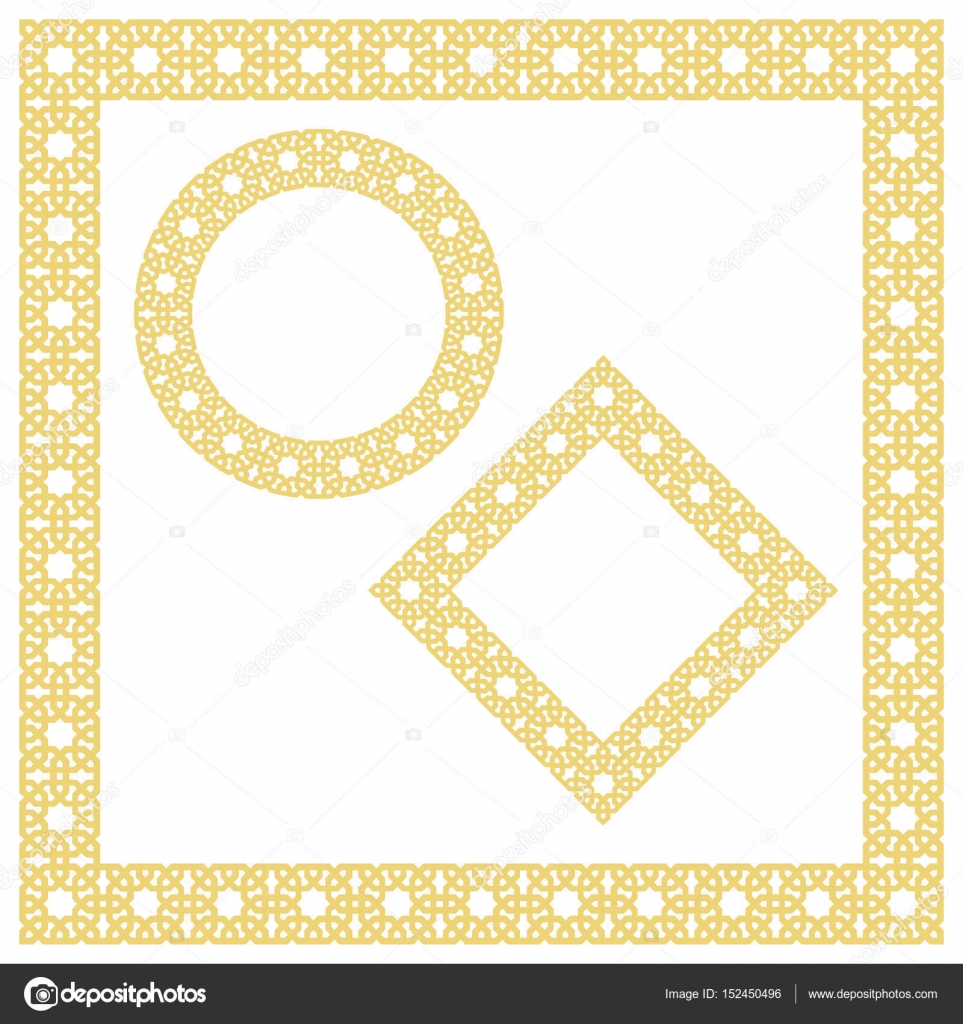 Islamic geometric borders, frames, vignettes. Vector muslim, persian ...