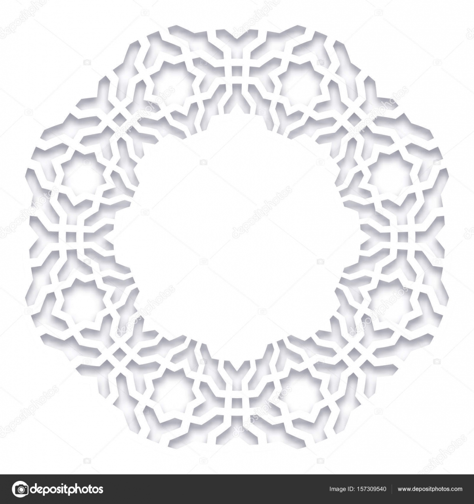 Paper cut out vector illustration 3d round white frame vignette vector muslim persian motif elegant oriental ornament mosque decoration element for greeting cards vector by midsummerday m4hsunfo