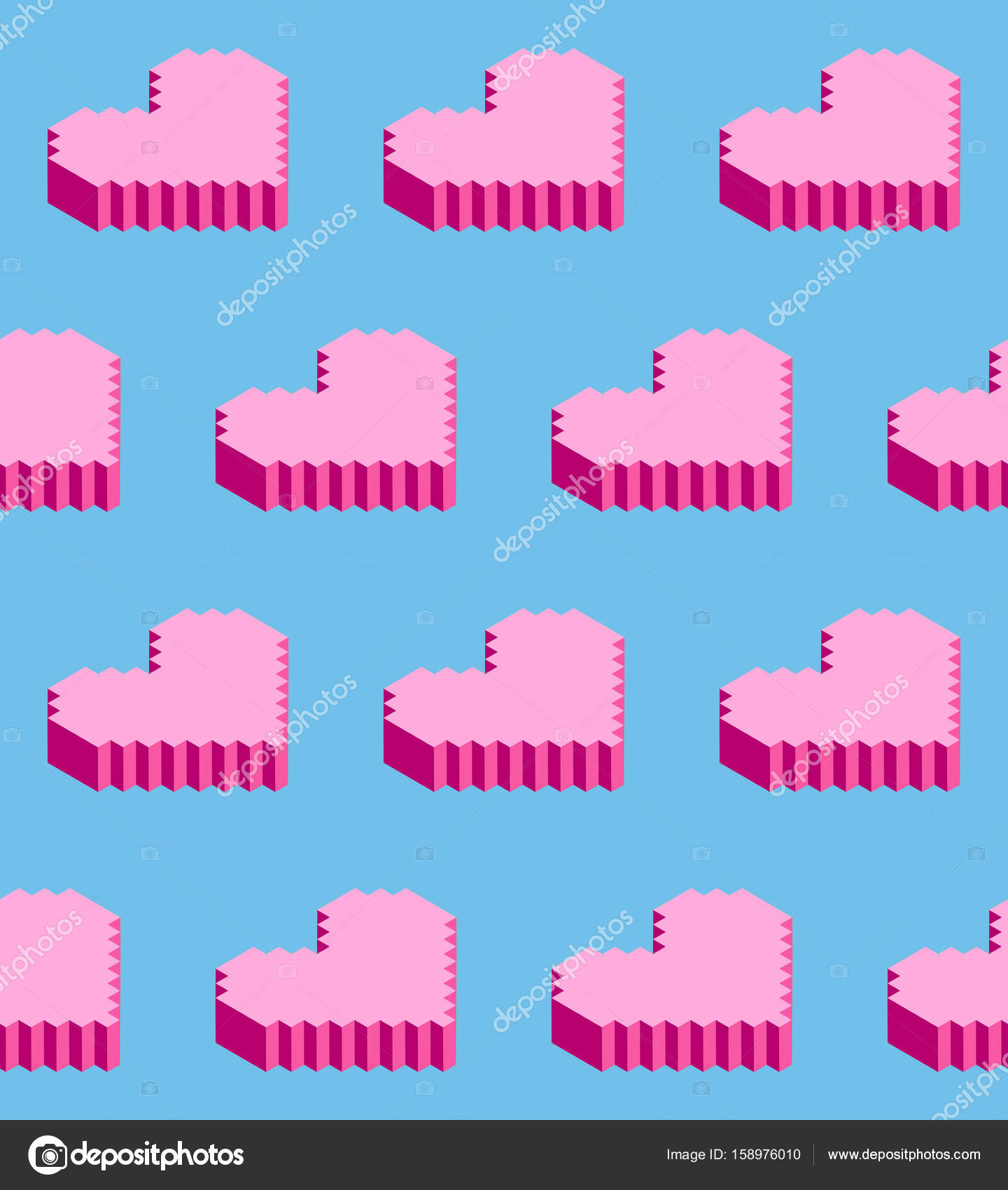 seamless background of isometric pixel hearts vector illustration