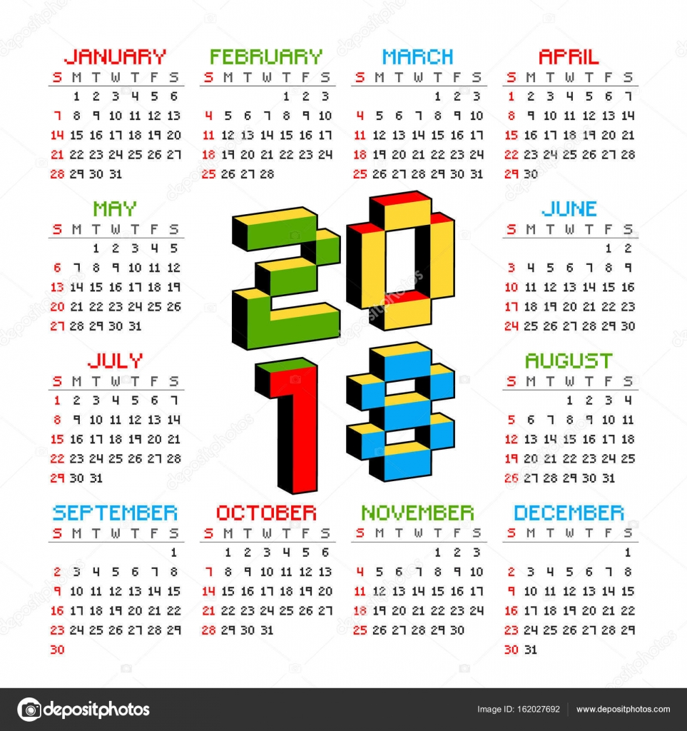 2018 calendar on a white background in style of old 8 bit video games week starts
