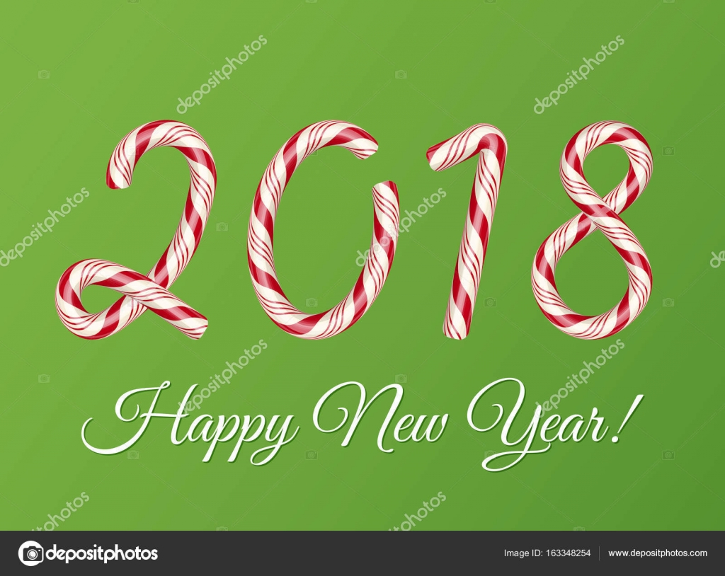 2018 new year card christmas candy cane text effect creative