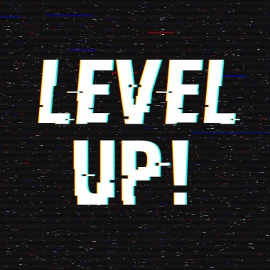 Level Up glitch text. Anaglyph 3D effect. Technological retro background. Vector illustration. Creative web template. Flyer, poster layout. Computer program, console screen, retro arcade. clip art vector