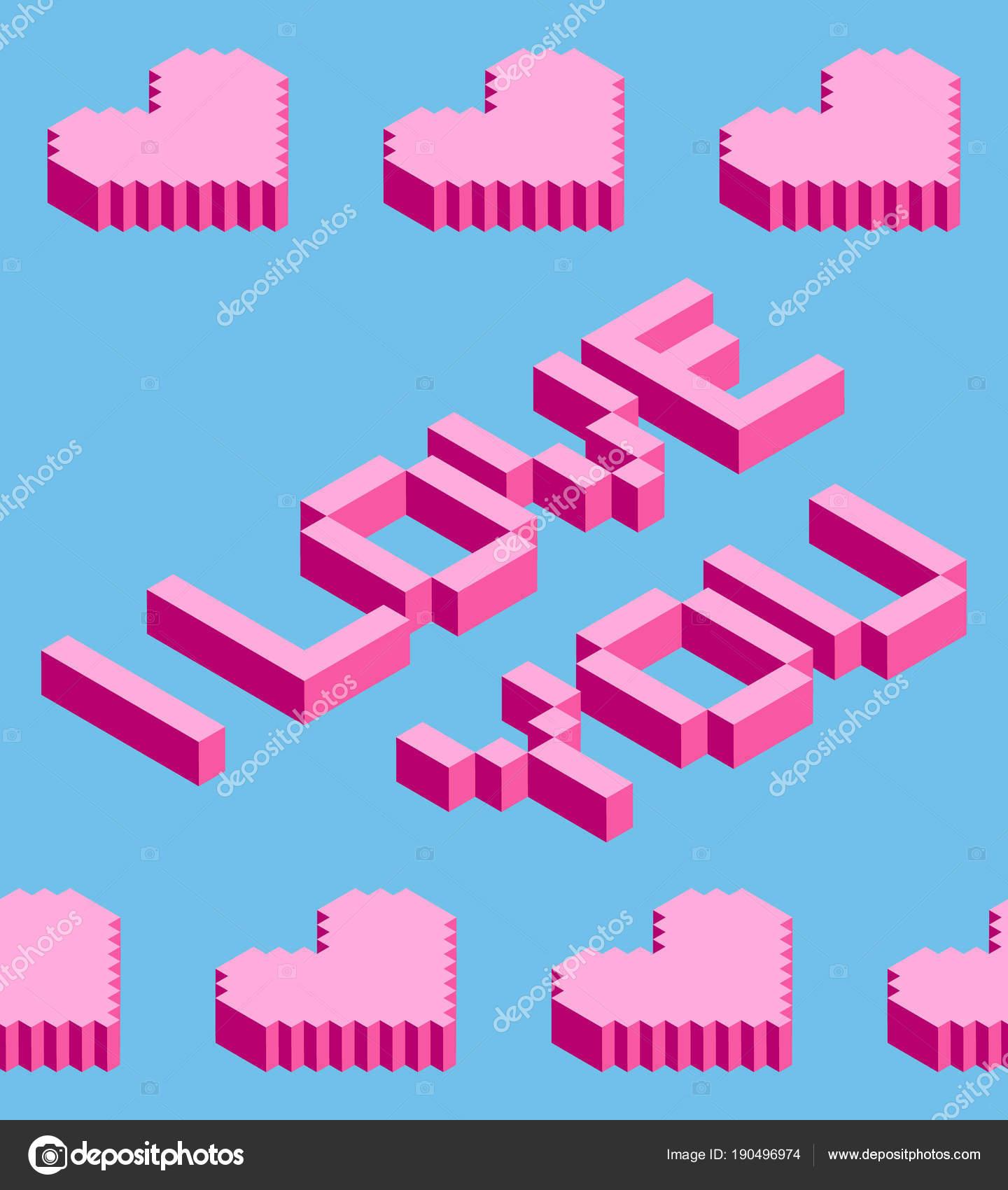Sans Soudure Fond Des Coeurs De Pixel Isométrique Avec Je T