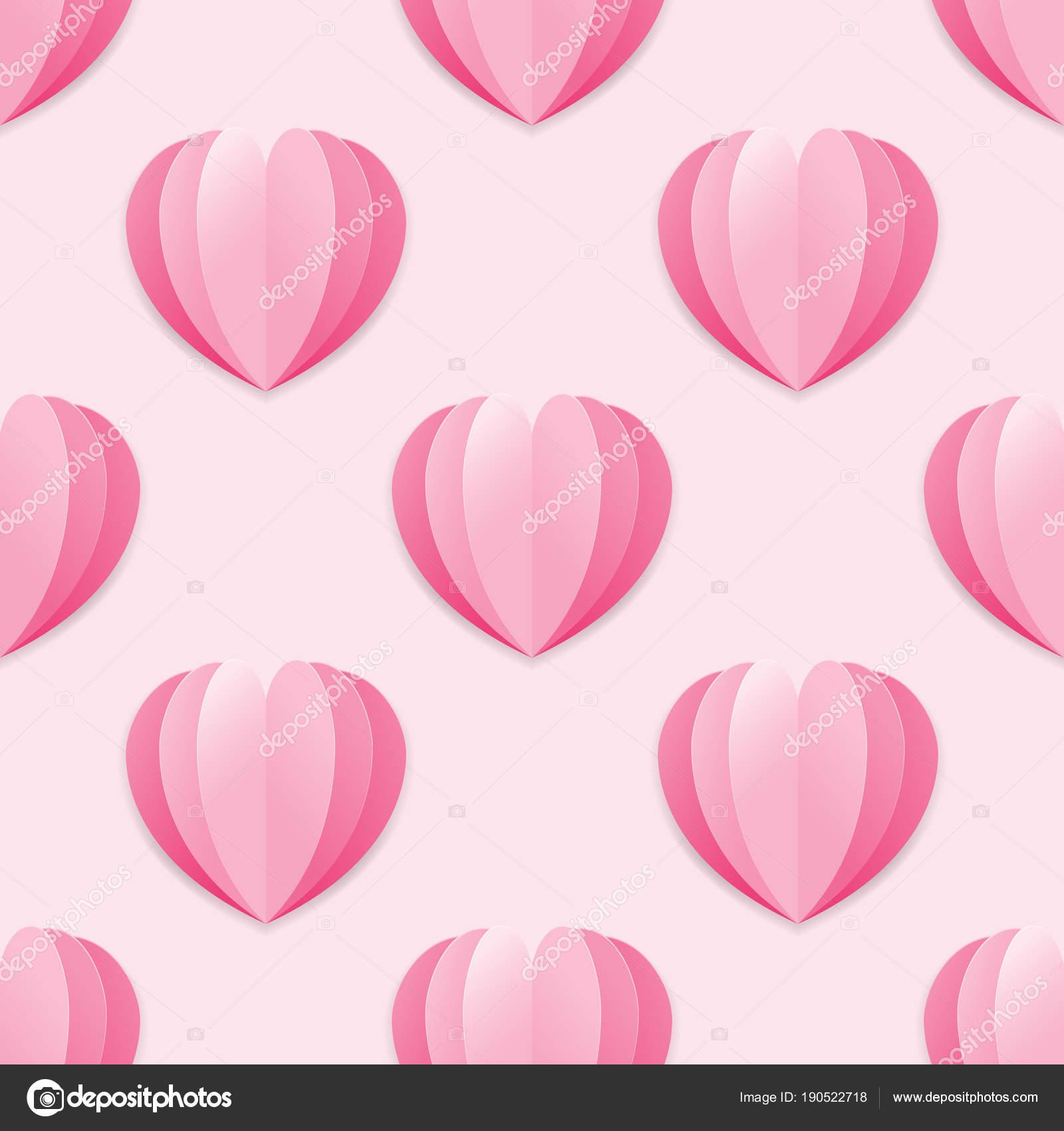 Nahtlose Hintergrund rosa Papierherzen. Romantisches Symbol der ...