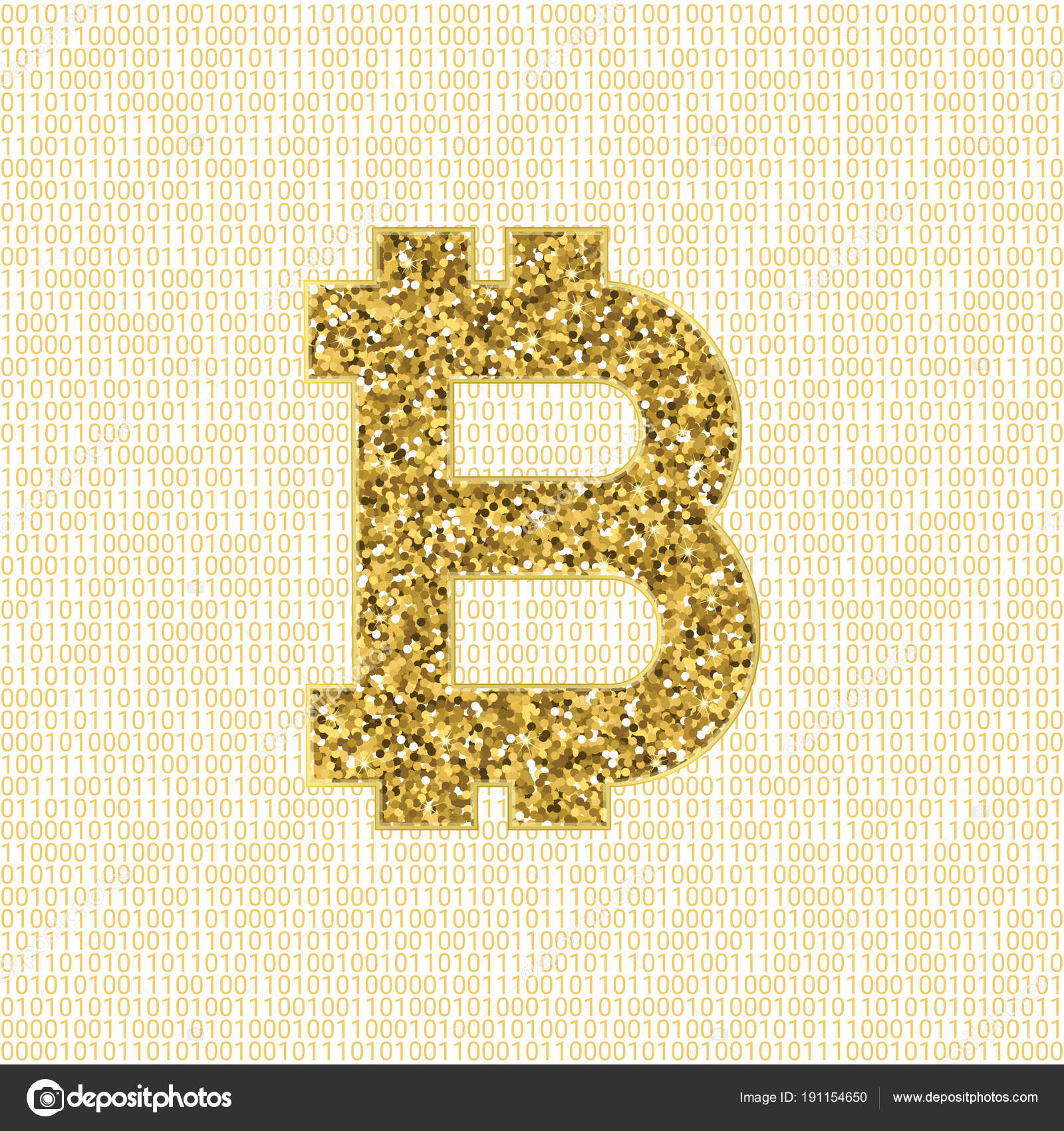 Golden Vector Bitcoin Symbol Crypto Currency Digital Illustration