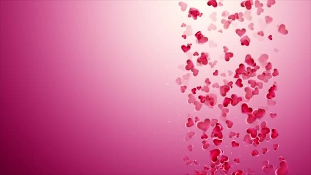 Beautiful pink background with falling hearts on Valentines Day