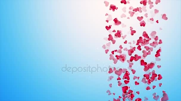 Beautiful blue background with falling hearts on Valentines Day