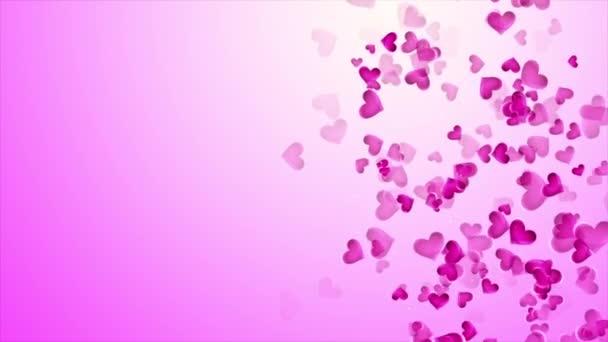 Bellissimo Sfondo Rosa Con La Caduta Dei Cuori Su San Valentino