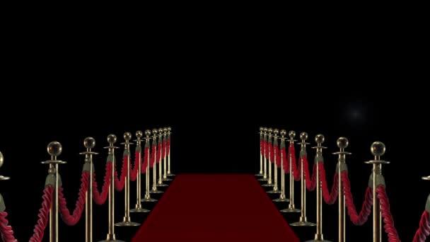 Roter Teppich auf dem Hintergrund der Kamera blinkt