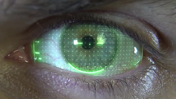 Close-up eye with green hologram