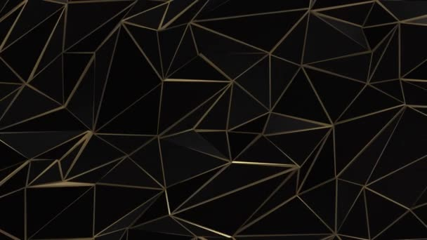 Black and gold abstract low poly triangle field