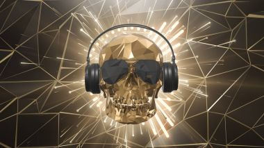 The golden low poly skull of the DJ on the background of the equalizer