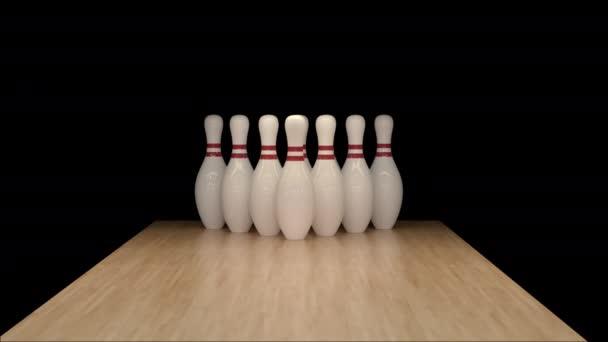 Bowling Strike ve zpomaleném filmu na alfa kanálu