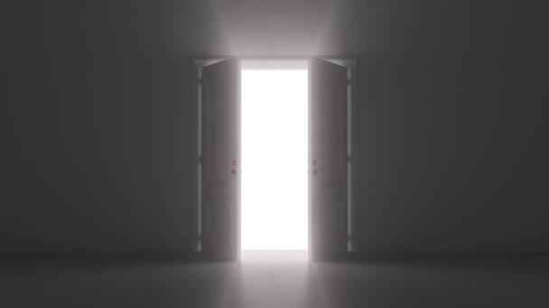 otevřené dveře svítí v tmavé místnosti