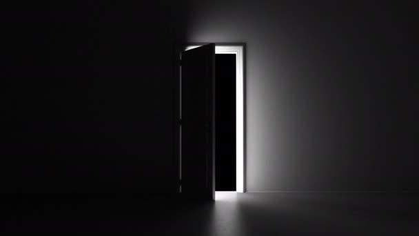 otevřené dveře v tmavé místnosti s alfa kanálem