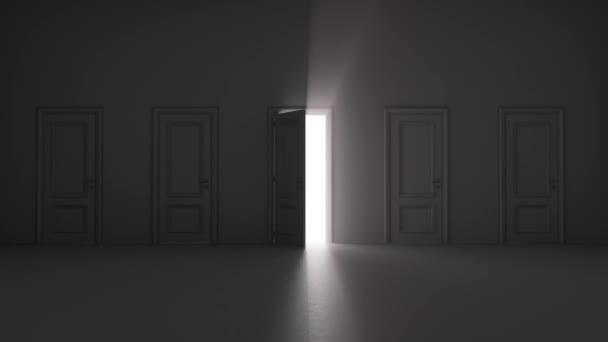 zářící otevřené dveře mezi několika dveřmi v tmavé místnosti