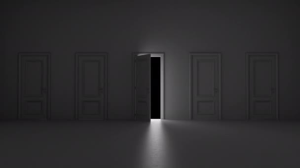otevřené dveře mezi několika dveřmi v tmavé místnosti s alfa kanálem