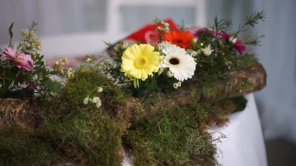 Birch is decorated with moss and decorated with gerberas.